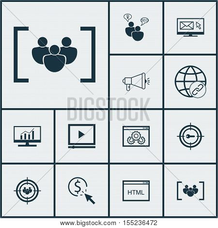 Set Of Advertising Icons On Questionnaire, Ppc And Keyword Marketing Topics. Editable Vector Illustr