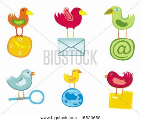 Set of birds icons for website, icons for network, vector illustration.  To see similar, please VISIT MY GALLERY.