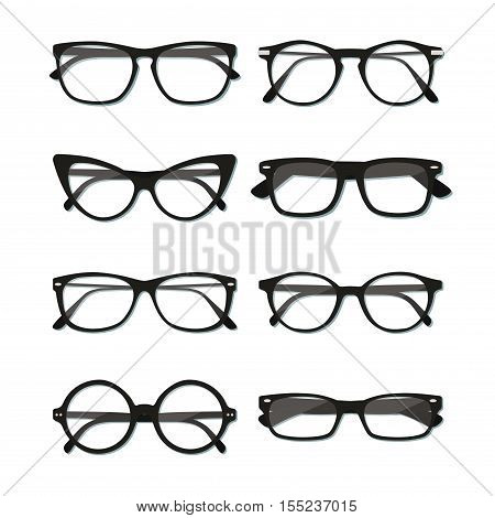 Flat vector glasses big set illustration. Collection of different of rim glasses types - round square cat eye glasses. Different style - hipster retro vintage modern classic.