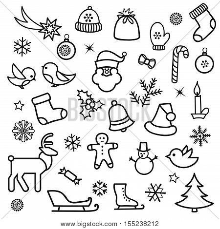 Christmas icon set. Doodle winter holiday decorative design elements. Merry Christmas and Happy New Year decor