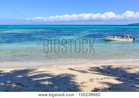 NACULA ISLAND, FIJI - AUGUST 24, 2012: Boat on the beach in Nacula Island part of the Yasawa Island group in Fiji