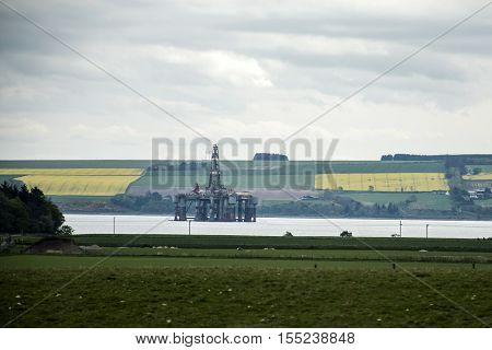 Semi Submersible Oil Rig Field offshore between inverness and Invergordon Scotland