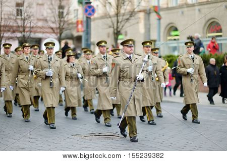 Vilnius, Lithuania - March 11, 2015: Festive Parade As Lithuania Marked The 25Th Anniversary Of Its