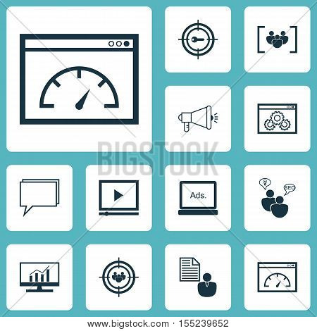 Set Of Advertising Icons On Focus Group, Website Performance And Questionnaire Topics. Editable Vect