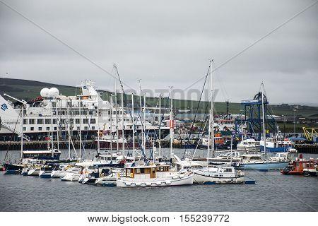 Ships at Boat harbor in Kirkwall Orkney Islands Scotland United Kingdom 18.05.2016
