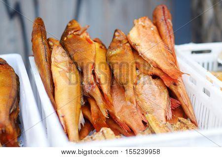 Smoked Fish On A Farmer's Market In Vilnius