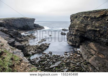 Panorama of Orkney coastline Yesnaby cliff landscape 5