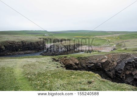 Panorama of Orkney coastline Yesnaby cliff landscape 6