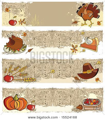 Thanksgiving four graphic grunge banners with copyspace.