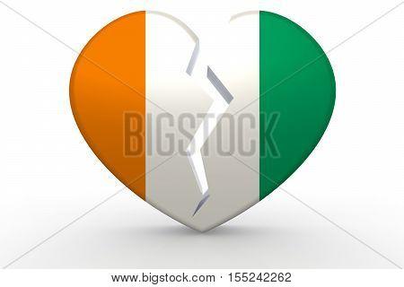 Broken White Heart Shape With Ivory Coast Flag