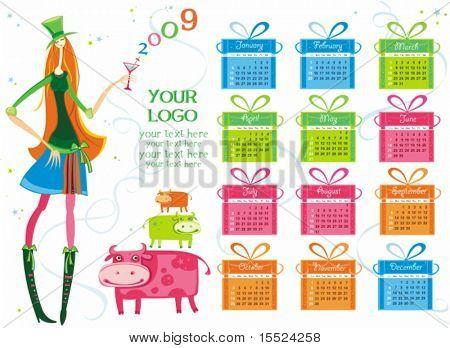 2009 colorful calendar