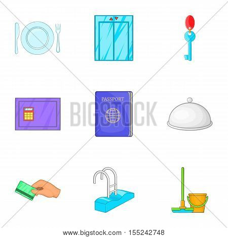 Hotel accommodation icons set. Cartoon illustration of 9 hotel accommodation vector icons for web
