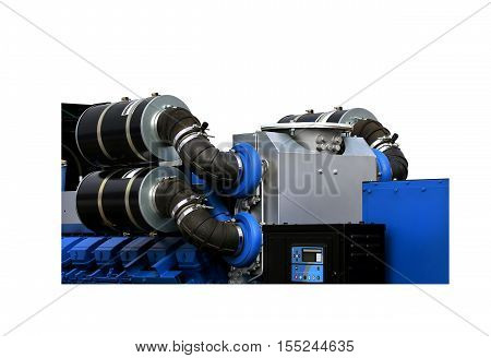Air intakes with inhaler on the top of the gas turbine engine and a power generator mounted on a steel frame isolated
