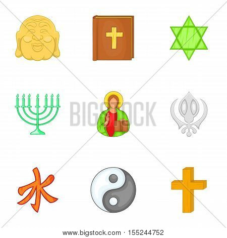 Religious faith icons set. Cartoon illustration of 9 religious faith vector icons for web