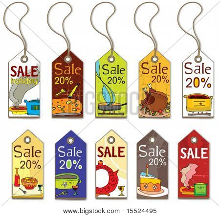 Colorful food tags. To see similar, please VISIT MY GALLERY.