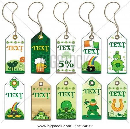 St. Patrick's Day tags. To see similar, please VISIT MY GALLERY.