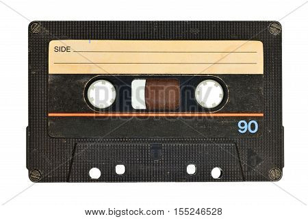 Old audio tape compact cassette isolated on white background with clipping path