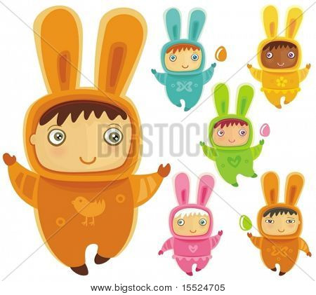 A cute little babies dressed as an Easter Bunnies with Easter eggs