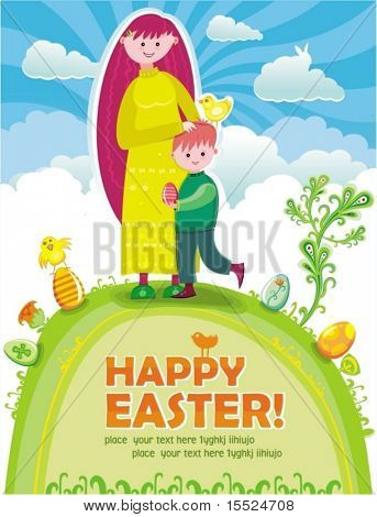 Easter greeting card. Pretty young mother with a cute son standing at the top of the hill, at spring sunny Easter day