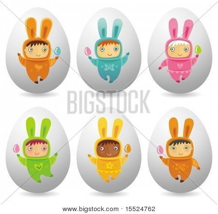 Set of six Easter eggs with cute little babies dressed as an Easter Bunnies. To see similar, please VISIT MY GALLERY.