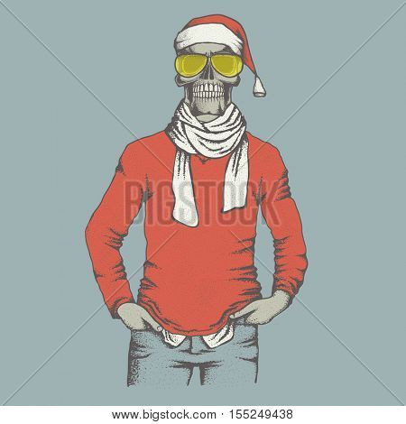 Vector Christmas skull  in skull in sweater illustration. Hand drawn. Skull human in sweatshirt