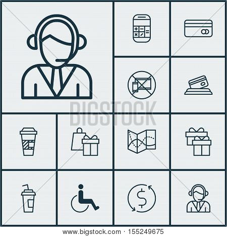 Set Of Traveling Icons On Operator, Takeaway Coffee And Present Topics. Editable Vector Illustration