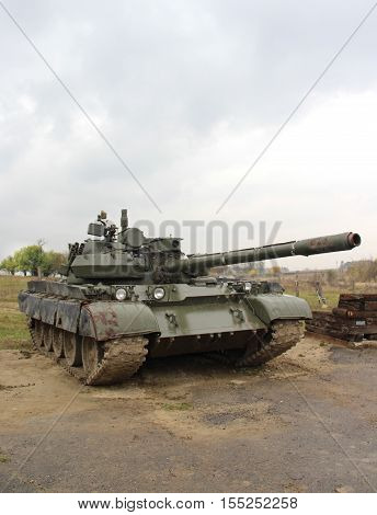 Army tank in the cloudy and rainy weather