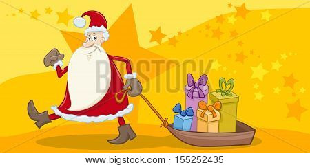 Greeting Card With Santa And Gifts