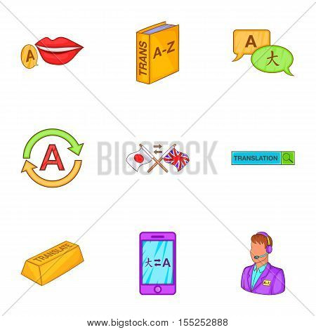 Language learning icons set. Cartoon illustration of 9 language learning vector icons for web