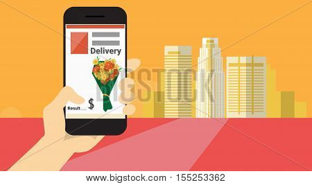 Hand Hold Cell Smart Phone Application Online Flower Delivery Banner Flat Vector Illustration
