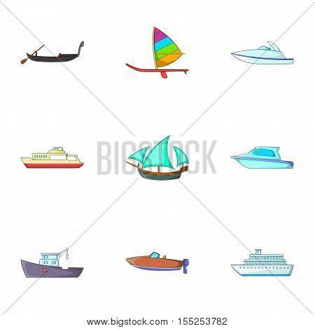 Maritime transport icons set. Cartoon illustration of 9 maritime transport vector icons for web