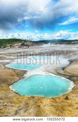 Turquoise pools in Norris Geyser Basin, Yellowstone National Park, USA