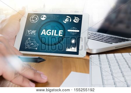 AGILE Agility Nimble Quick Fast Concept   analysis, business, businessman, belief inspiration communication