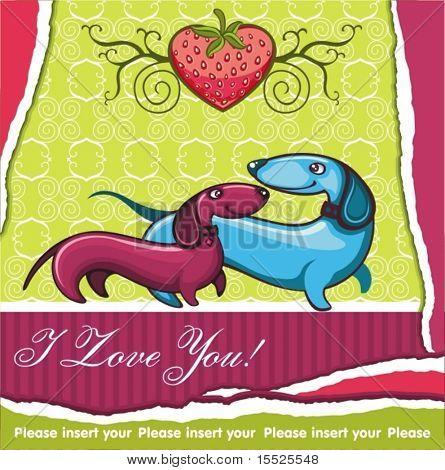 Dachshunds love - Valentine card