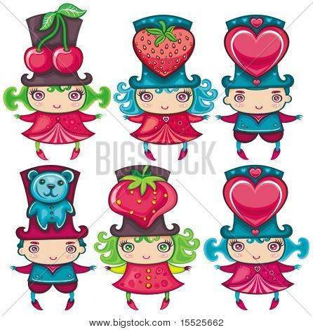 Valentine kids with festive top hats