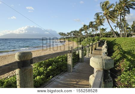 Boardwalk along the beach on the tropical island of Maui, Hawaii
