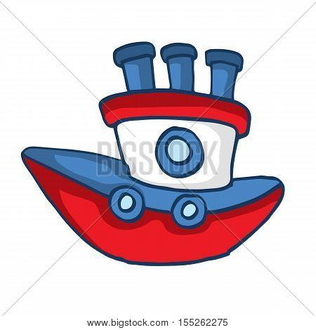 Modern ship cartoon vector illustration for kids design