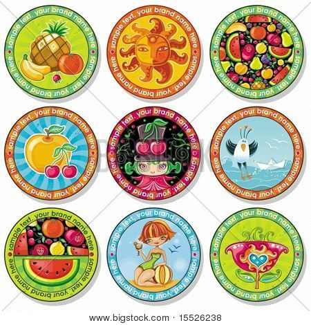 Set of summer vacation drink coasters