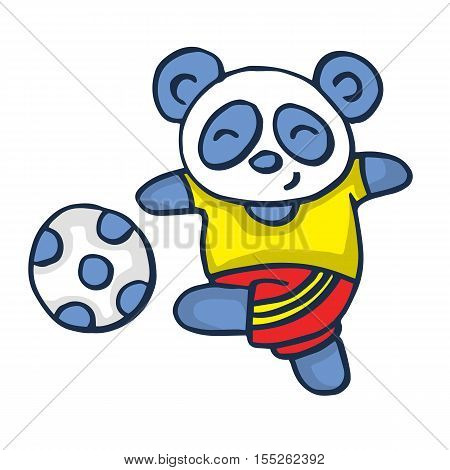 Panda playing football vector illustration collection stock