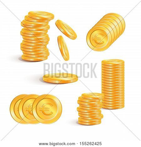 Coin euro. Euro money. Stacks of gold coins, vector. Euro gold coins with euro signs.  Business concept.