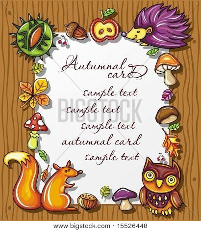 Autumnal wooden frame with natural design elements