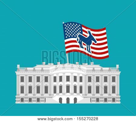 Democrat win White House. Flag blue donkey. Political presidential elections in USA.