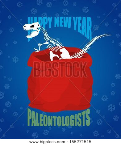 Paleontologists new year. Dinosaur skeleton in red sack Santa Claus. tyrannosaurus congratulates on Christmas. Prehistoric predator.