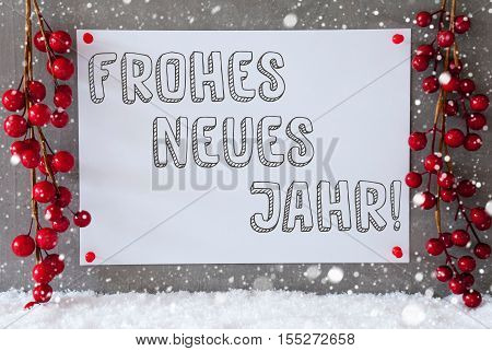 Label With German Text Frohes Neues Jahr Means Happy New Year. Red Christmas Decoration On Snow. Urban And Modern Cement Wall As Background With Snowflakes.