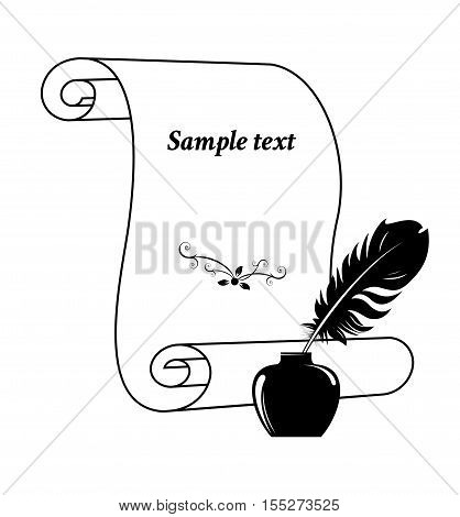 Scroll paper with a feather in inkwell. Vector illustration.