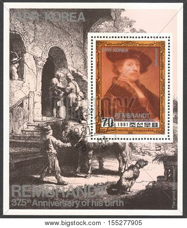 MOSCOW RUSSIA - CIRCA OCTOBER 2016: a post stamp printed in the NORTH KOREA shows a portrait of Rembrandt dedicated to the 375th Anniversary of the Birth of Rembrandt circa 1981