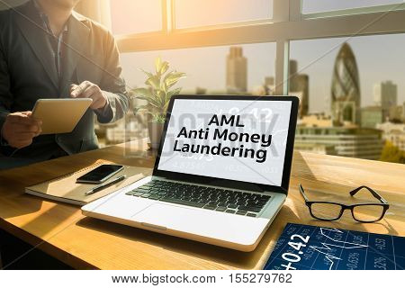 Business Acronym AML Anti Money Laundering abbreviation, accounting