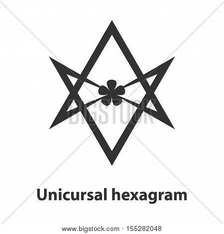 Icon of Unicursal hexagram symbol. Thelema religion sign