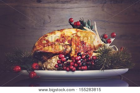 Scrumptious Roast Turkey Chicken On Platter