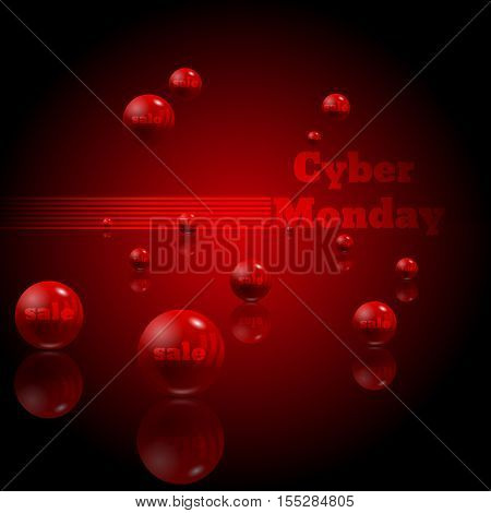 Cyber Monday Sale Website Display With Red Balls Promotion Balls Eps 10 Vector Design.